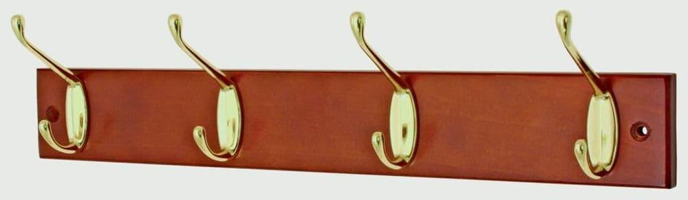 Headbourne Mahogany Board Brass Hooks - 4 Hook